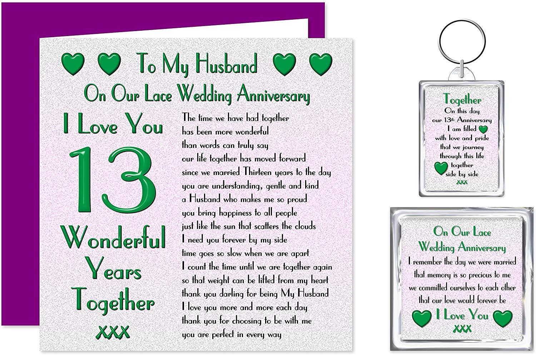 My Husband 13th wedding anniversary card - Card, Key ring & Fridge Magnet Present