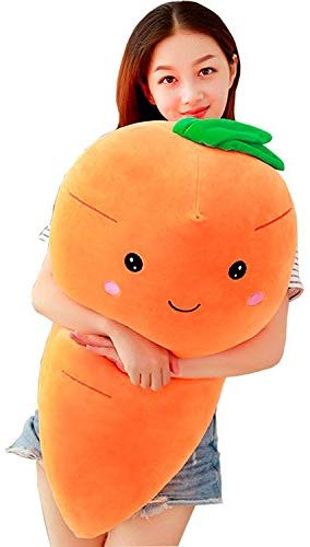 TOPJIN Lovely Plush PP Stuffed Vegetable Carrot Toys Throw Pillow for Kids Adults Gift