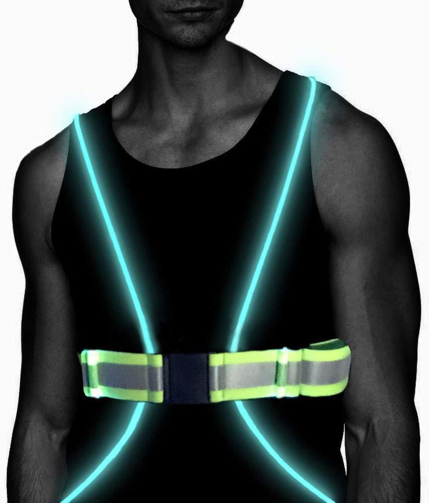 Atlecko 360° Reflective LED Running, Cycling or Hiking Vest & Belt for Men