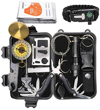 Exqline Outdoor Survival Kits 12 in 1 Survival Gear Kits Set