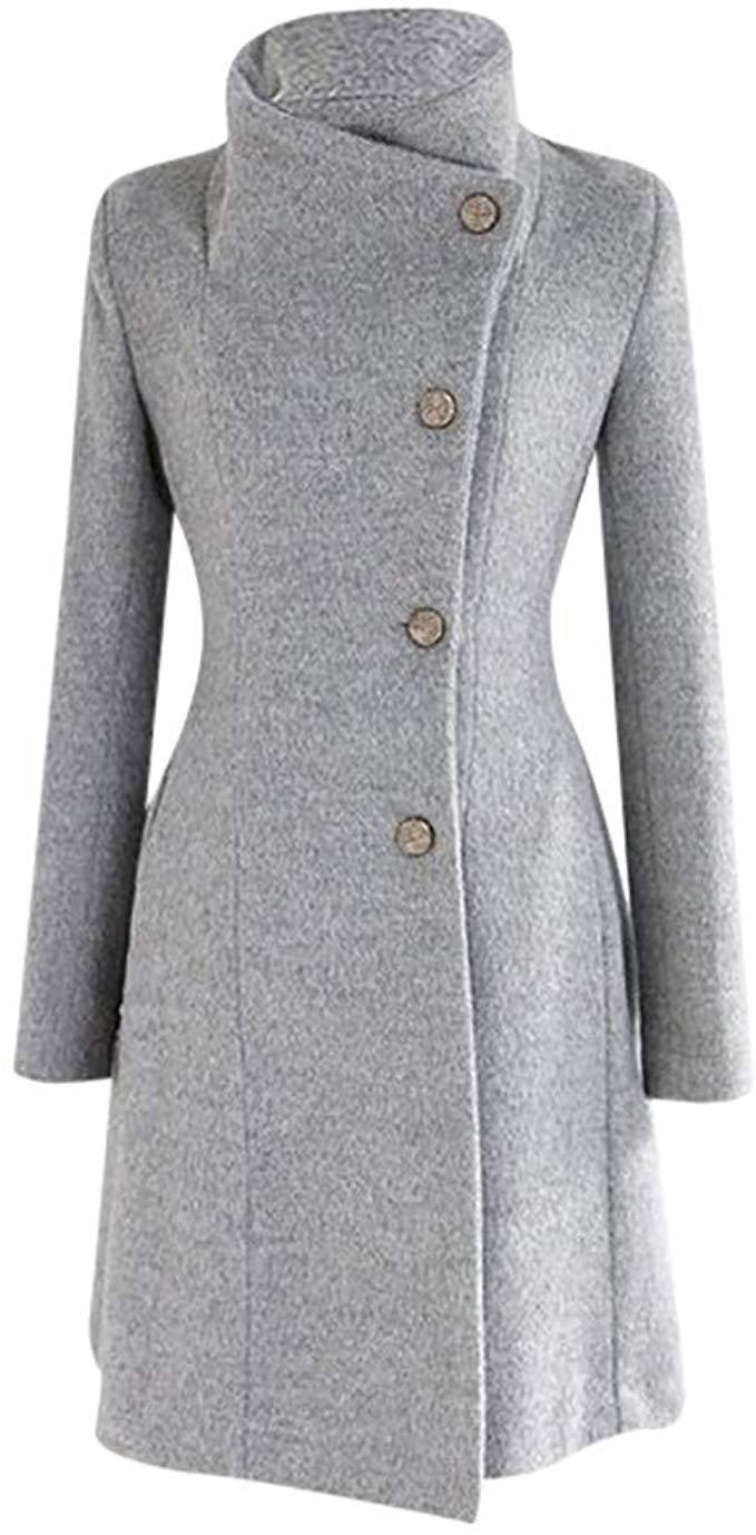 Womens Winter Lapel Wool Coat Trench Jacket