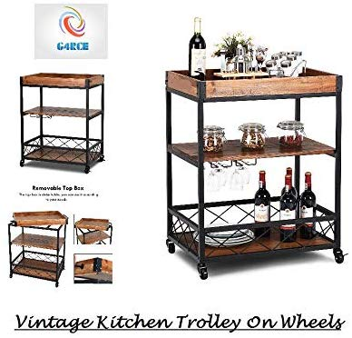 Vintage 3 Tier Metal/Wood Rolling Kitchen Trolley