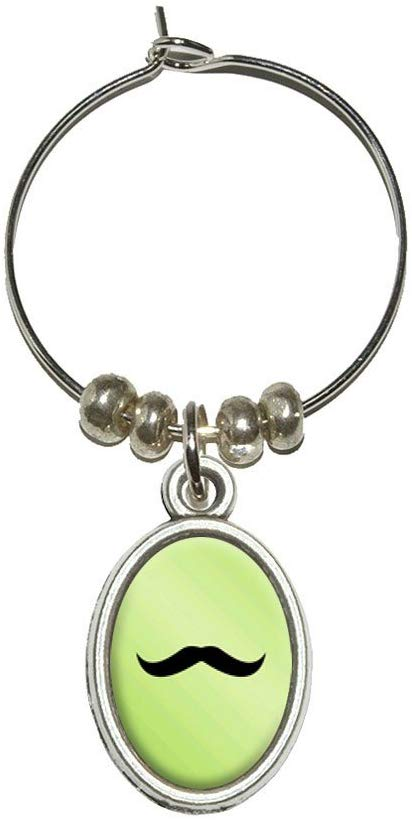 Mustache Funny Green Wine Glass Oval Charm Drink Marker