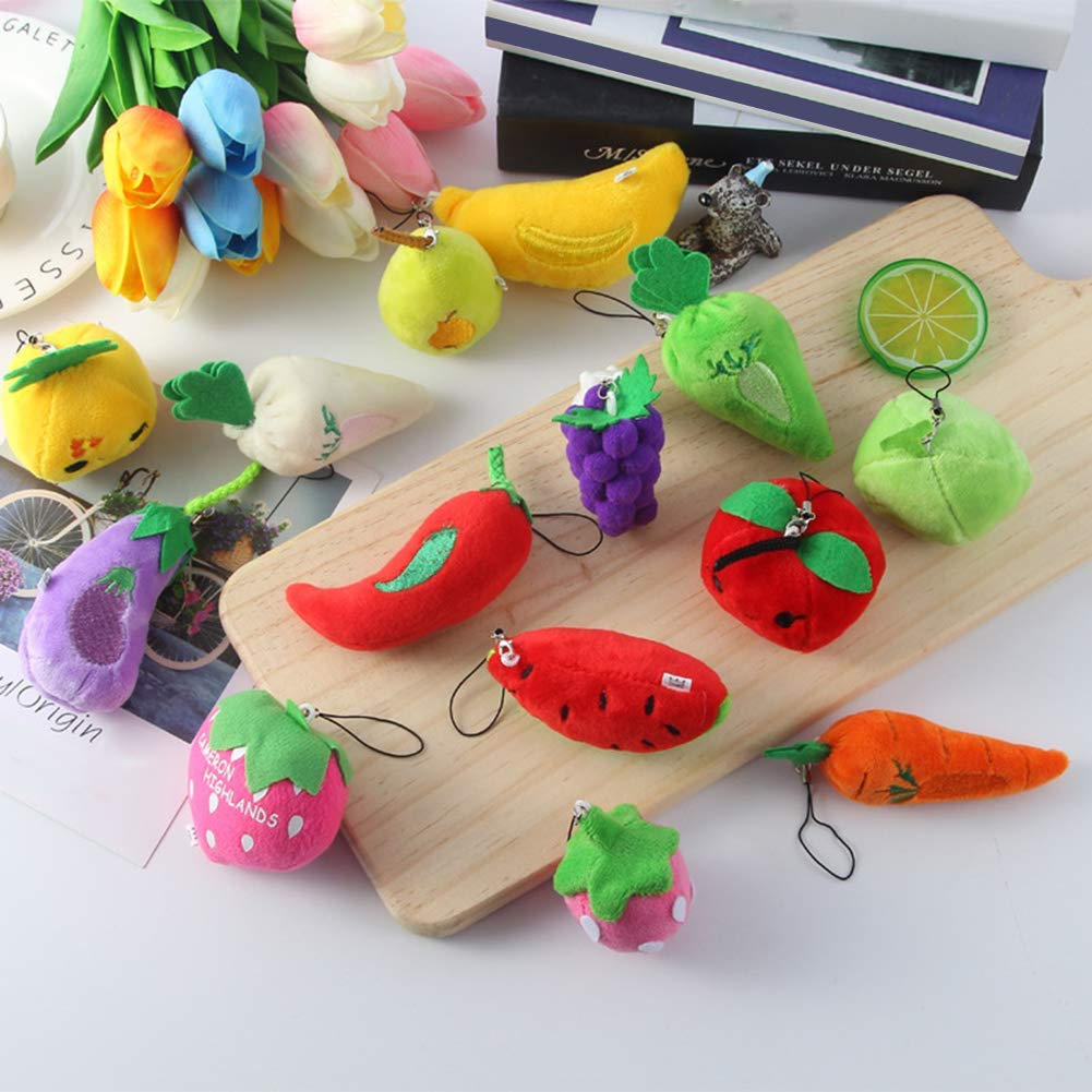 Funny Fruit Vegetable Faux Short Plush Keychain Pendant