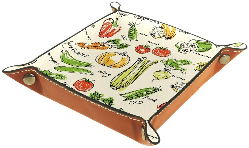 MUOOUM Assorted Vegetables Pattern, Open Home Storage Bins Jewelry Tray