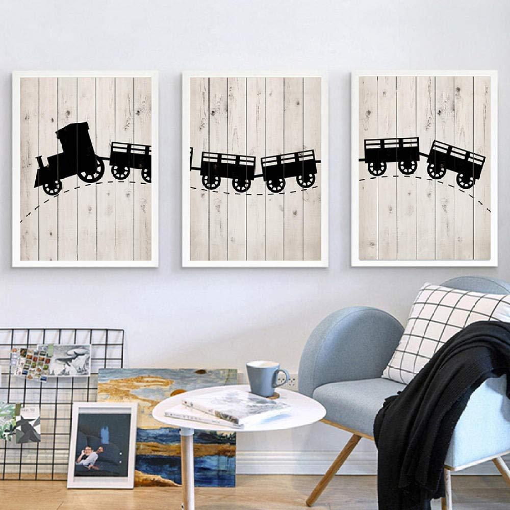 Jwqing Vintage Train Posters Nordic Canvas Prints Wall Art