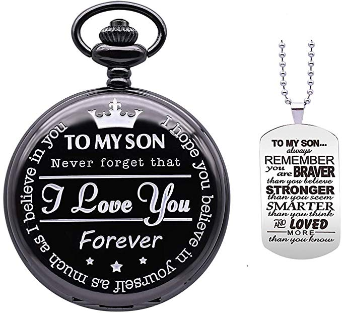 Wedding Day Novelty Pocket Watch with Chain