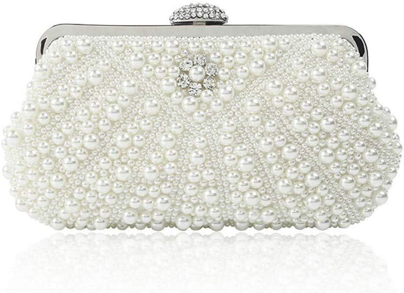 Enjoysports Glitter Faux Pearl Beaded Rhinestone Handmade Women's Clutch Bag