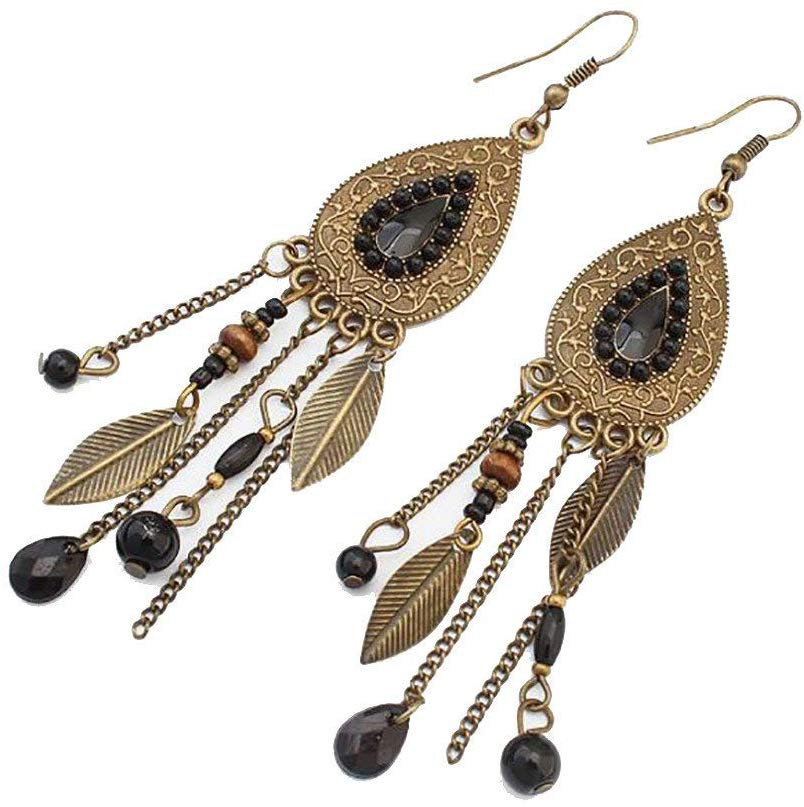 Handmade Vintage Hoop Earrings Crystal Rhinestone Round-Shaped Ear Stud Earrings