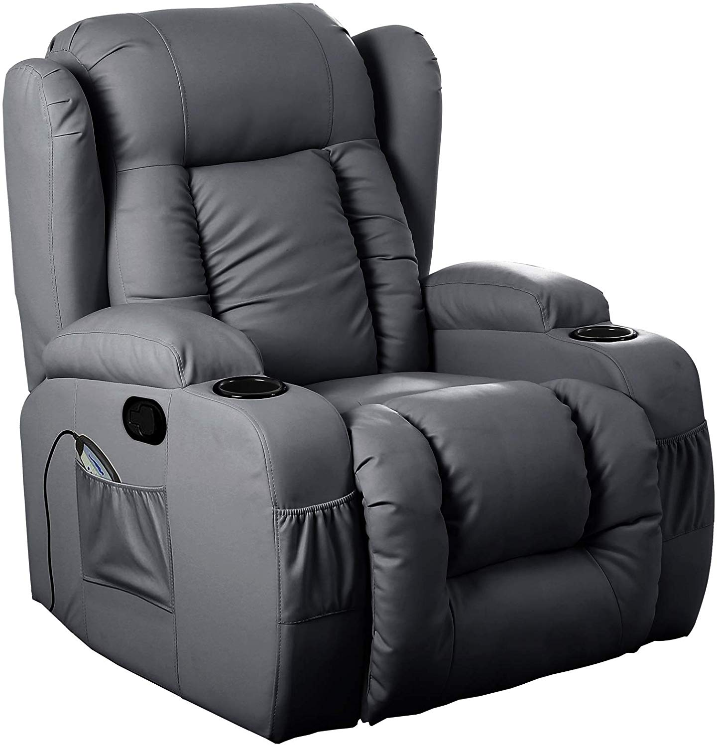 10 IN 1 WINGED LEATHER RECLINER CHAIR ROCKING MASSAGE SWIVEL HEATED GAMING ARMCHAIR