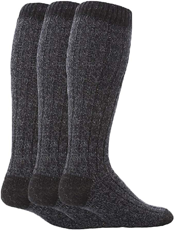 3 Pairs Mens Extra Long Knee High Thick Warm Wool Rich Knitted Boot Socks
