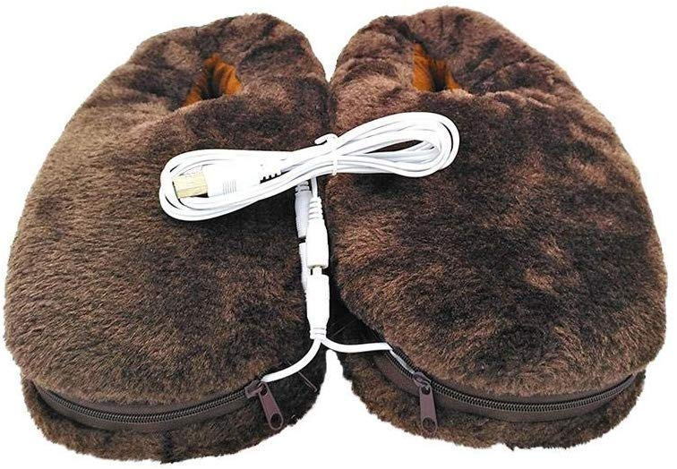 1 Pair Plush USB Electric Heating Slippers