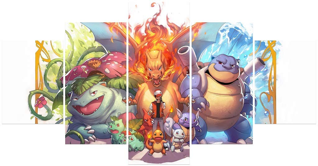 Hunbeauty art Pokemon Poster Unframed Canvas Prints Anime Posters for Bedroom