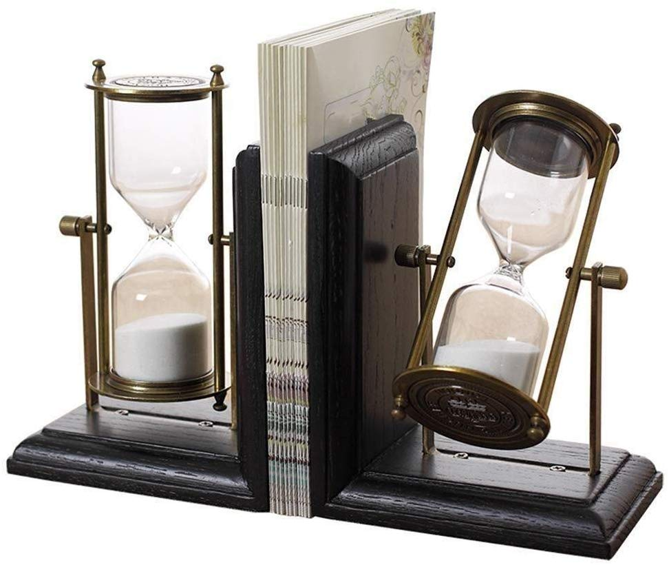 Books Bookends Hourglass Design Heavy Duty Black Metal Wood