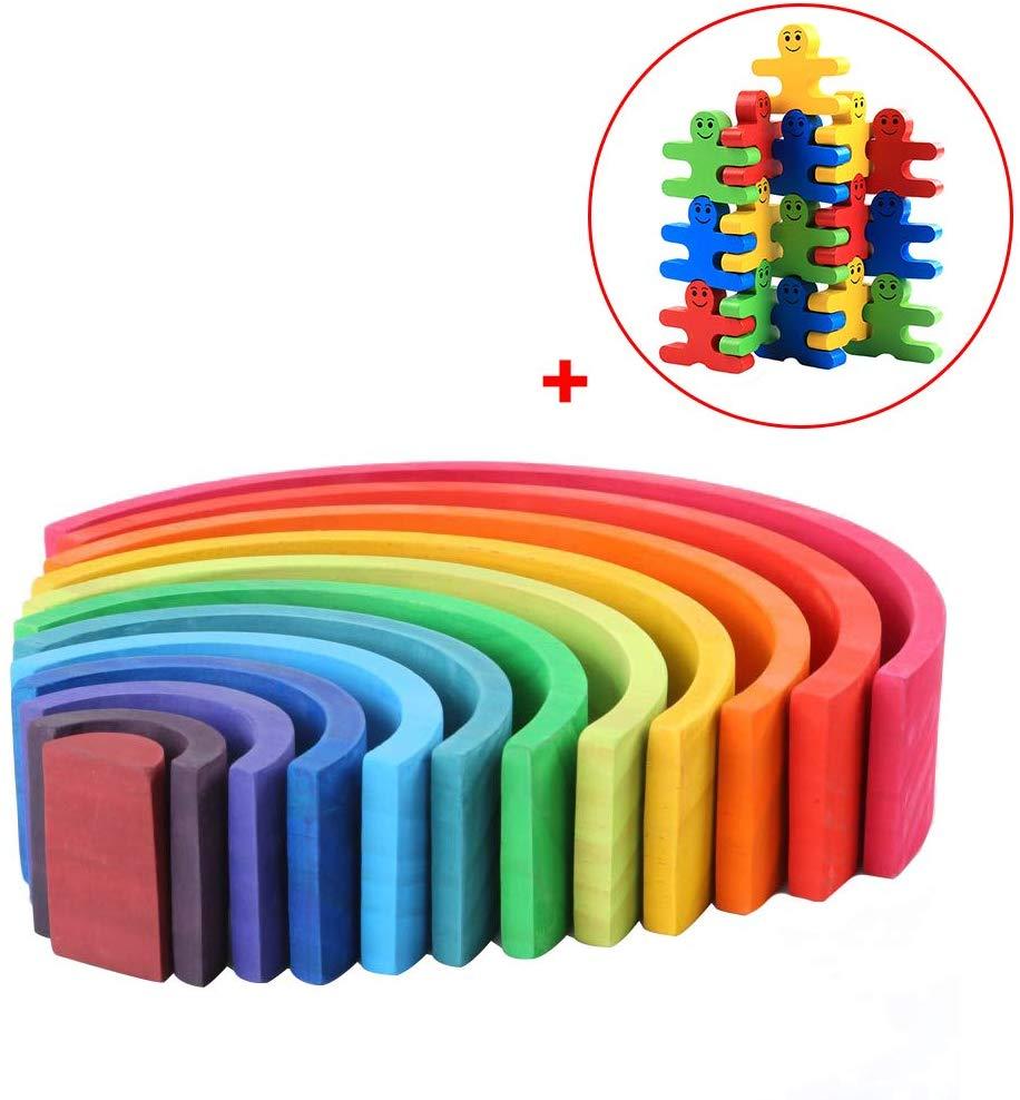 Grandnessry 12-Piece Wooden Rainbow