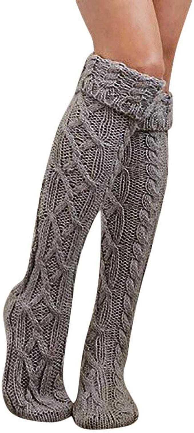 Ladies Winter Solid Bandage Over the Knee Wool
