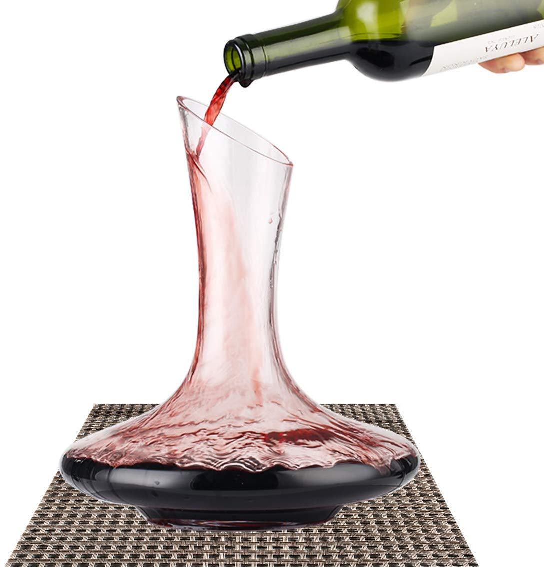 BOQO Wine Decanter, 100% Lead-Free Hand Blown Crystal Glass