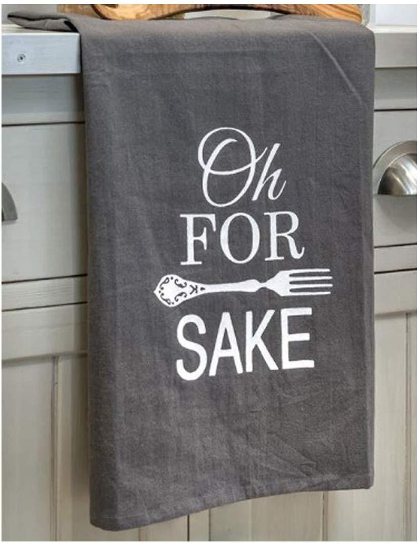 Interior Flair Oh Forks Grey White Flour Sacking Cotton Kitchen Accessory Tea Towel