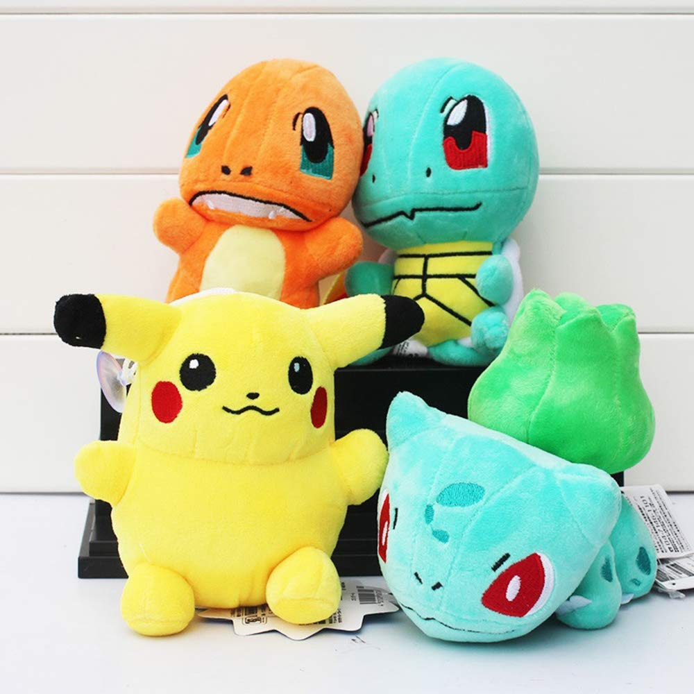 Set of 4 Plush Pikachu Charmander Bulbasaur Squirtle Pokemon Soft Toy