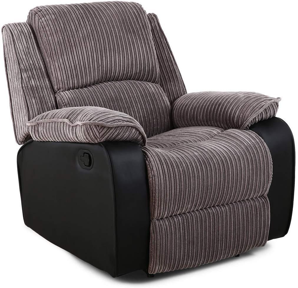 Jumbo Cord Fabric Recliner Armchair Sofa Lounge Home Reclining Chair