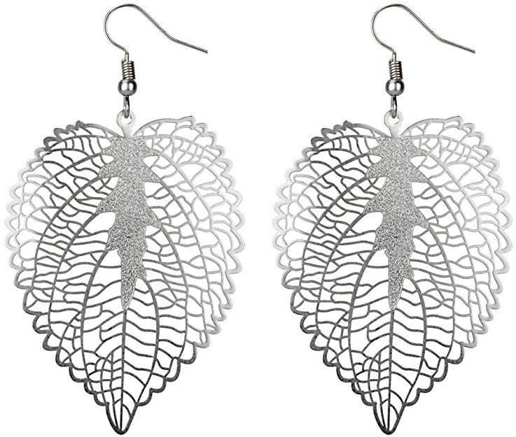 JOE COOL Drop Earring Etched Leaf Matte Made with Copper & Tin Plate
