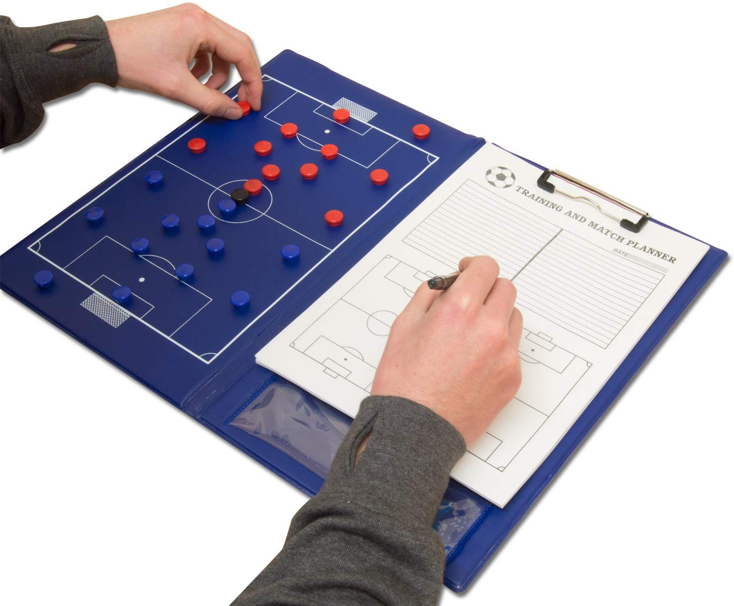 Magnetic Football Coaching Board/Tactics Folder With Pen & Paper