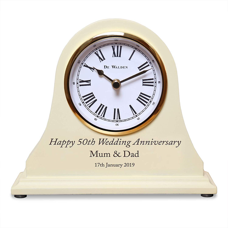 De Walden 50th Golden Wedding Gift Engraved Wooden Clock 50 Years Couple Gifts
