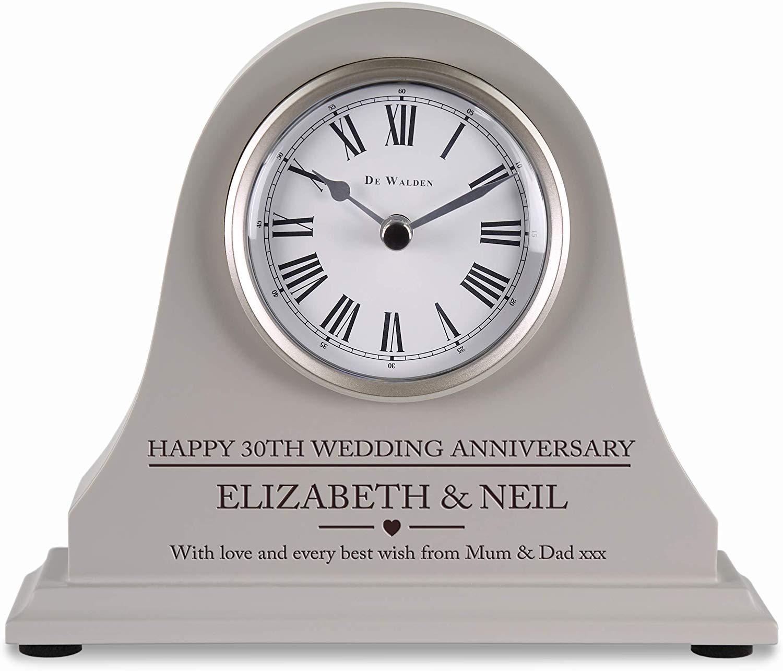 Engraved Grey Mantel Clock