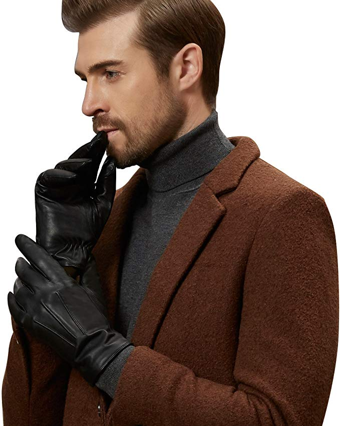 GSG Mens 100% Nappa Leather Winter Gloves