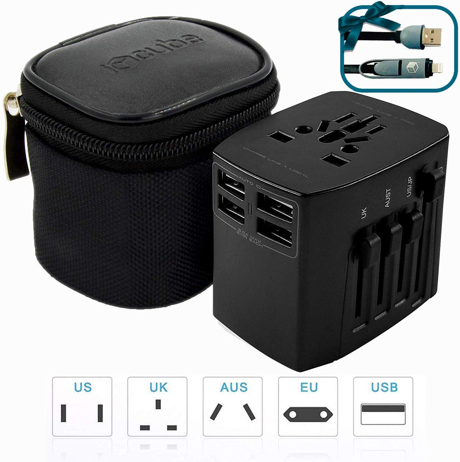 Worldwide Travel Adapter, 4 USB Ports Universal Surge Protection World's Safest International Power Adapter Plug