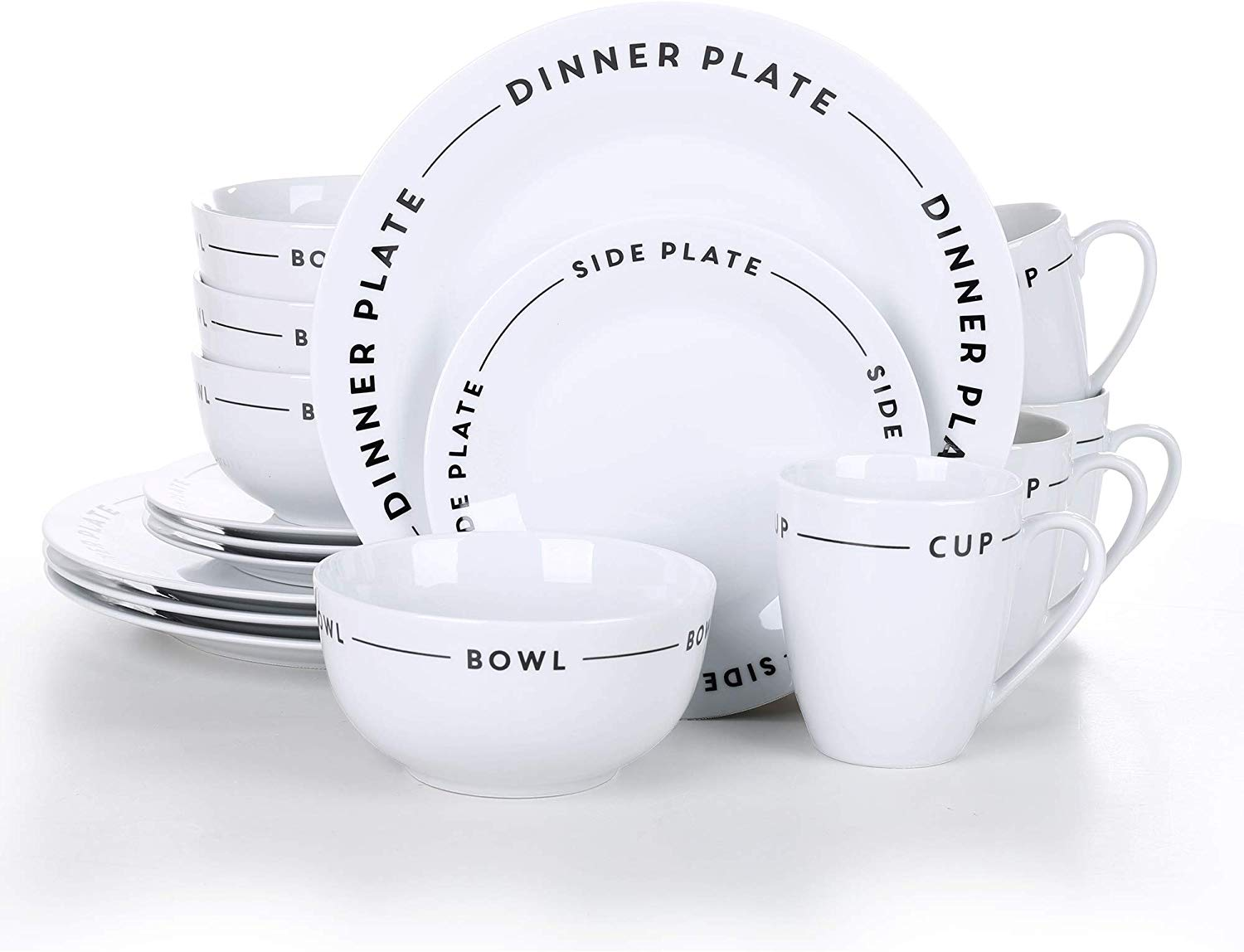 "16-Piece of Porcelain Combination Set with 10.75"" Dinner Plate"