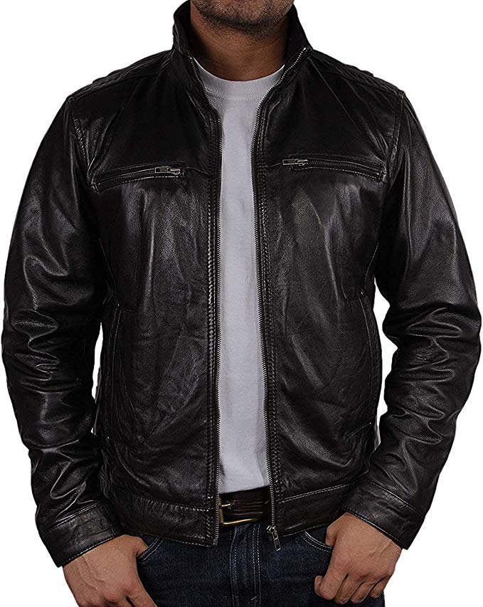Mens Leather Biker Jacket Black