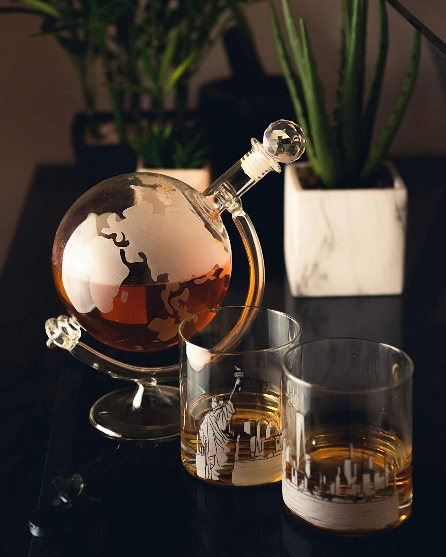 HomeZone® Whiskey and Brandy Globe Decanter Glass Set