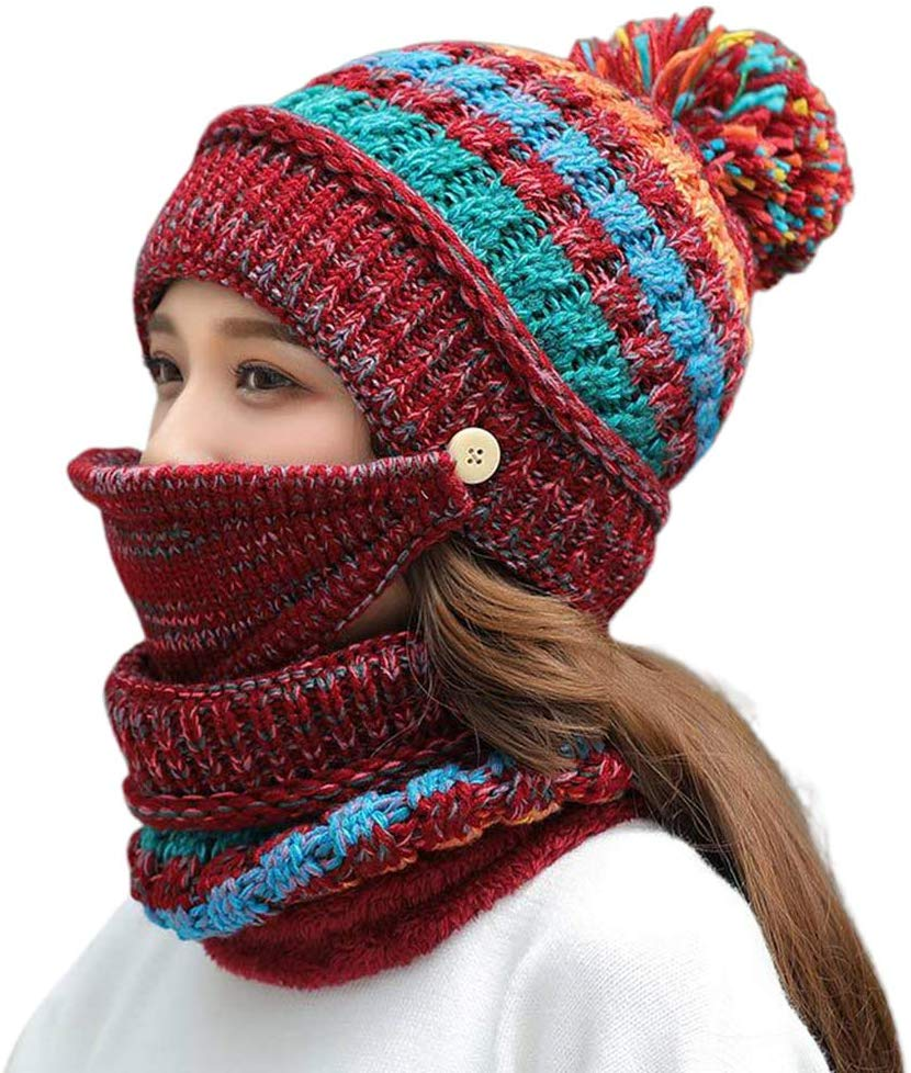 Women Warm Mixed Color Knit Hat Scarf Mask Set