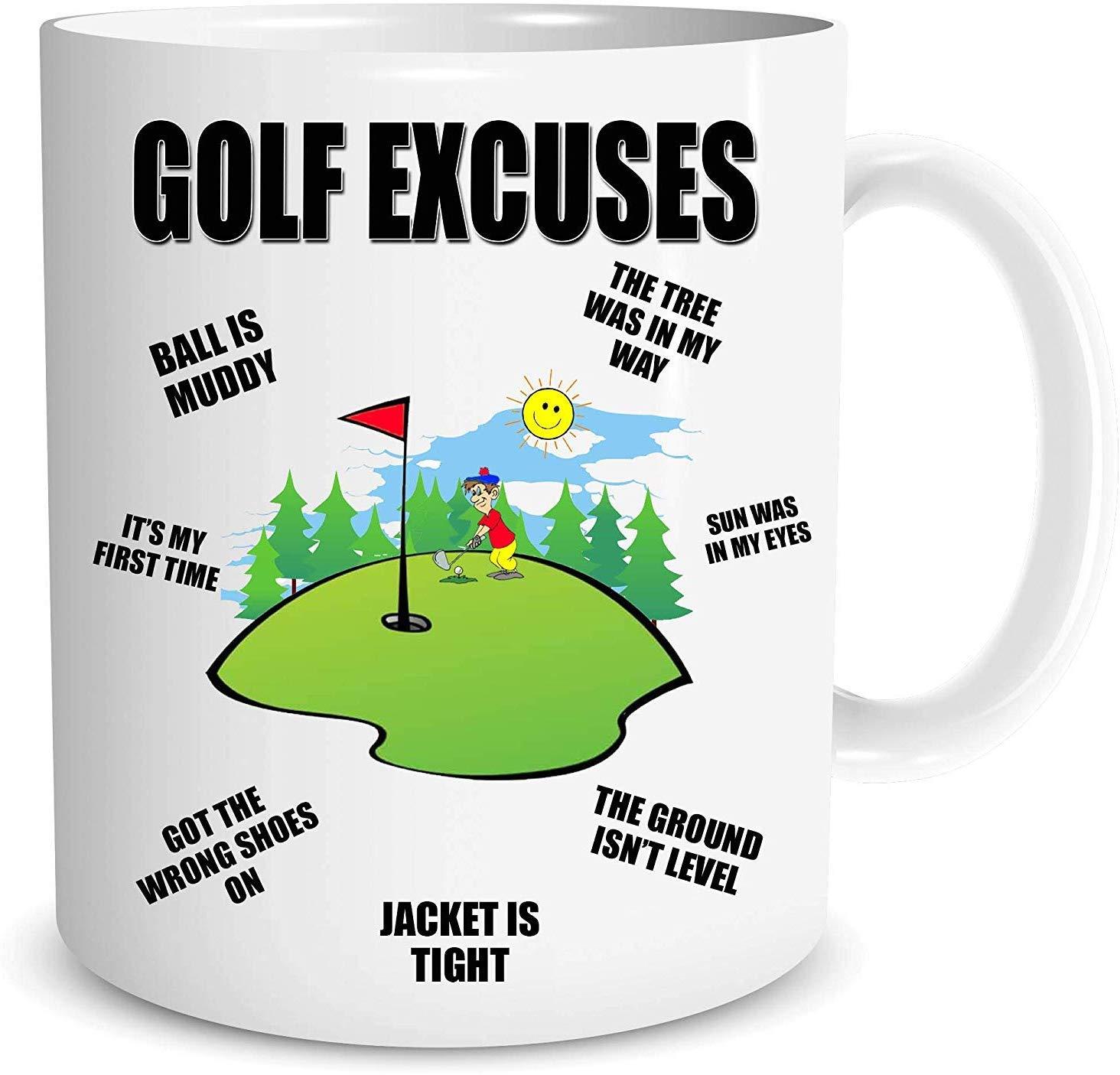 Funny Novelty Golf Excuses Tea Coffee Mug