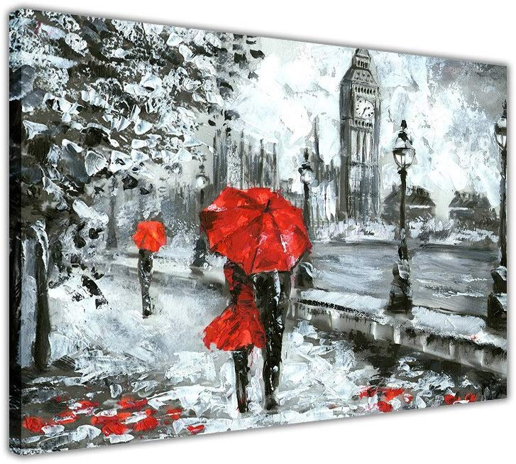 Couple Holding a Red Umbrella in London on Framed Canvas Wall Art