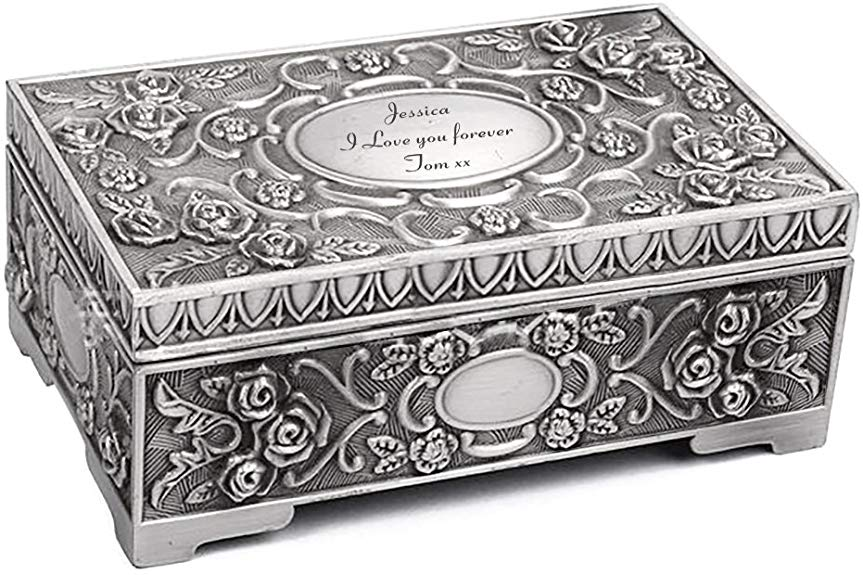 Howson London Personalised Engraved Antique Jewellery Box