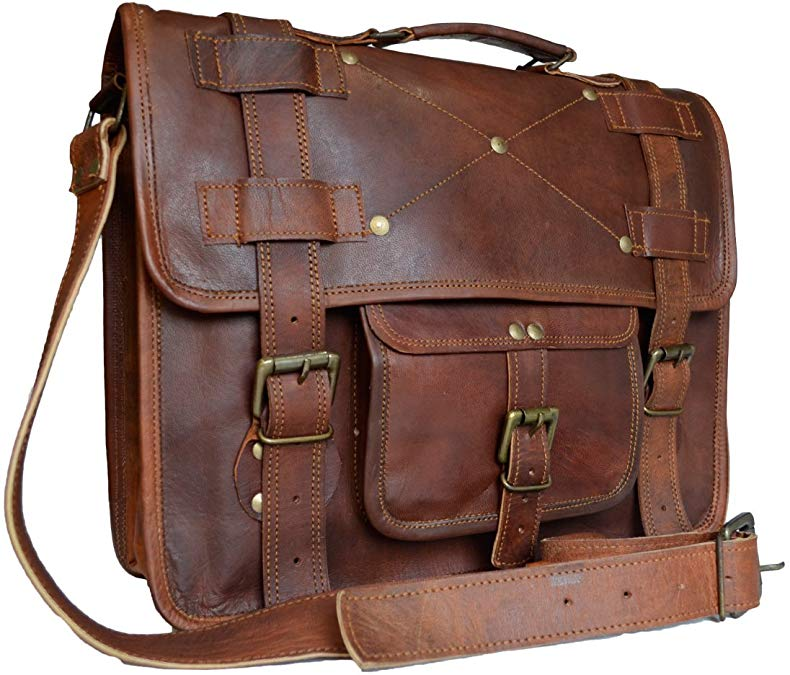 Vintage Men's Messenger Laptop Shoulder Bag Genuine Goat Leather