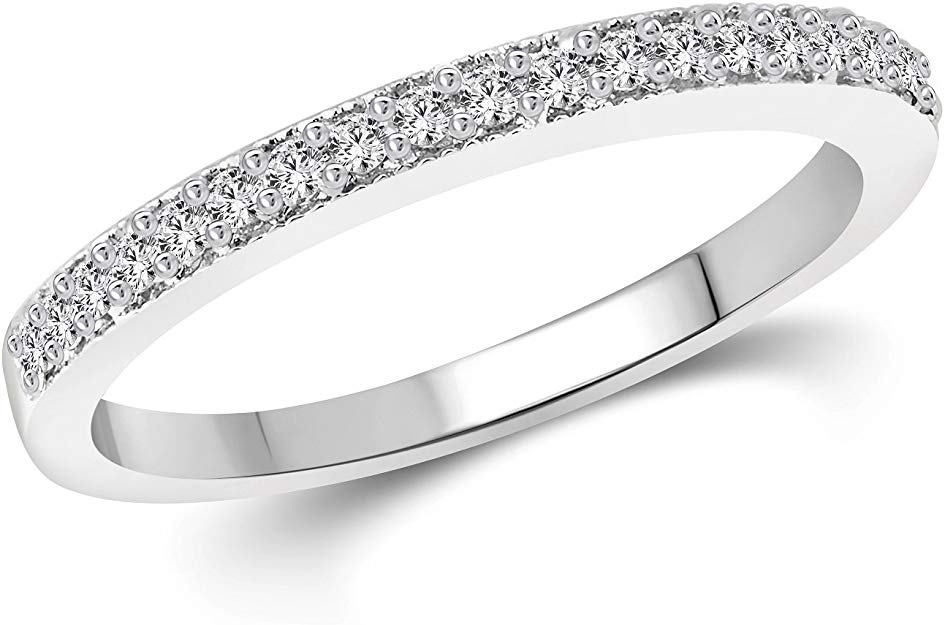 Platinum Plated 925 Sterling Silver Ladies Half Eternity Band Ring