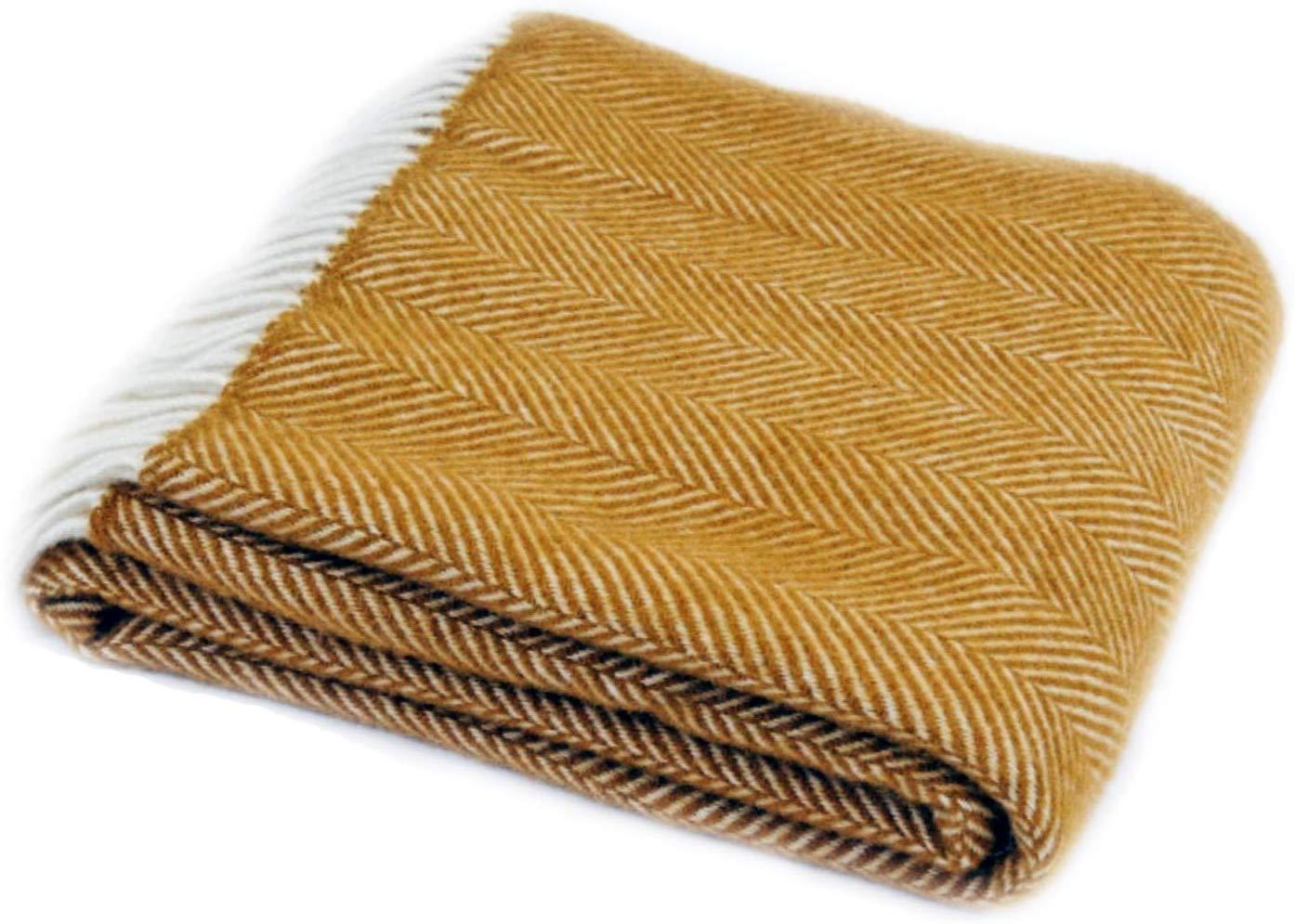Herringbone Mustard Yellow Pure New Wool Blanket