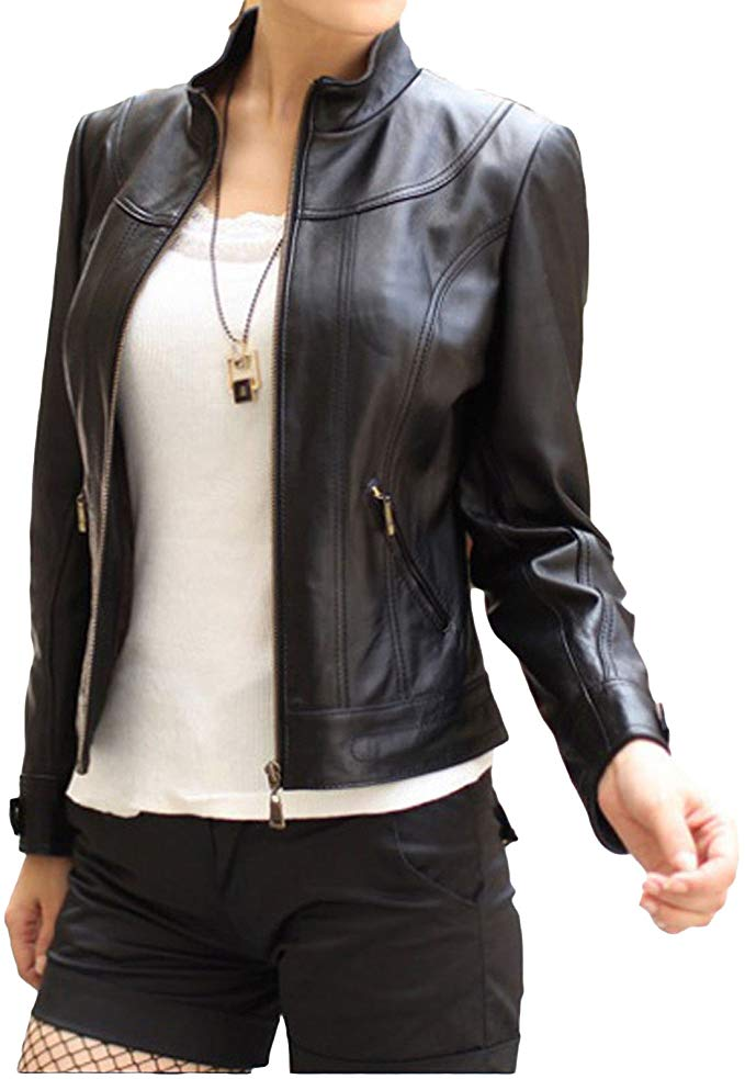 Women Blouson Genuine Lambskin Leather Jacket