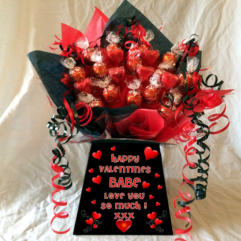 Personalised Valentines Lindt Lindor Sweet Chocolate Bouquet Hamper