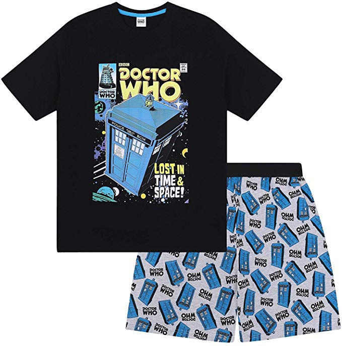 Doctor Who Official Gift Mens Loungewear Retro Short Pyjamas