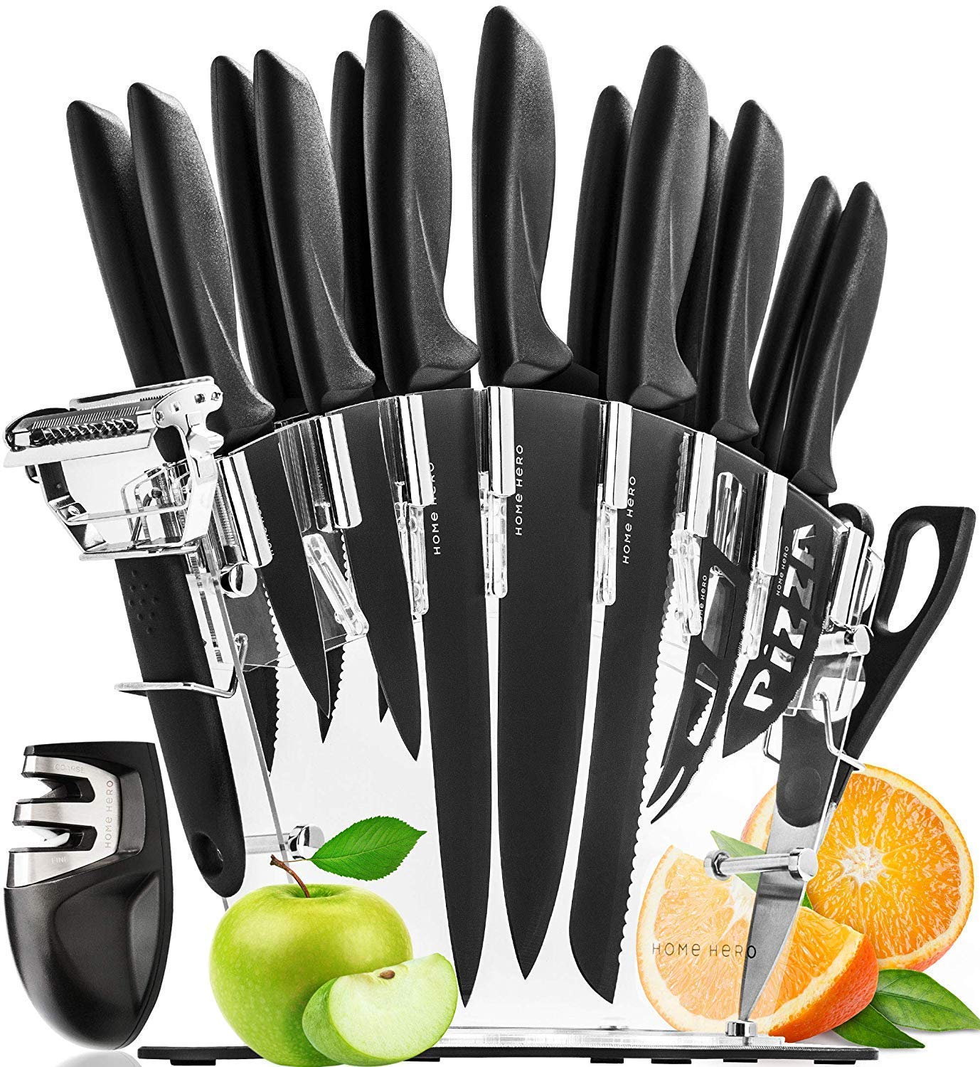Kitchen Knife Set with Block - 13 Stainless Steel Kitchen Knives