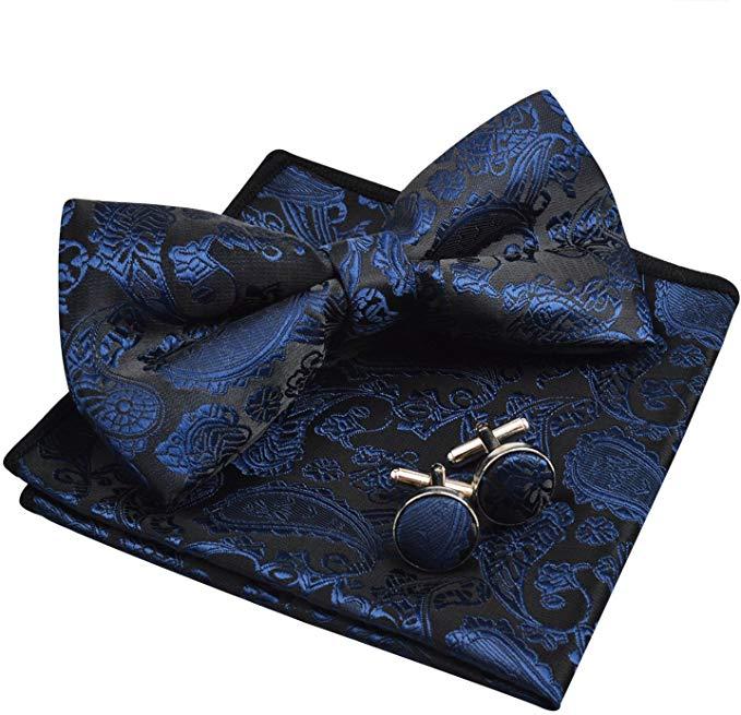 Mens Paisley Bow Tie, Pocket Square, Cufflinks Set