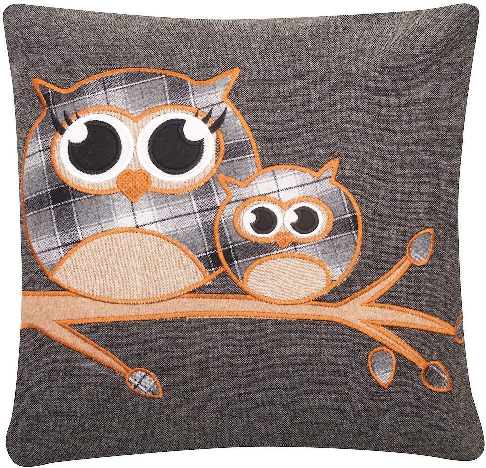 Tartan Cute Highland Owl Wool Blend Cushion Cover
